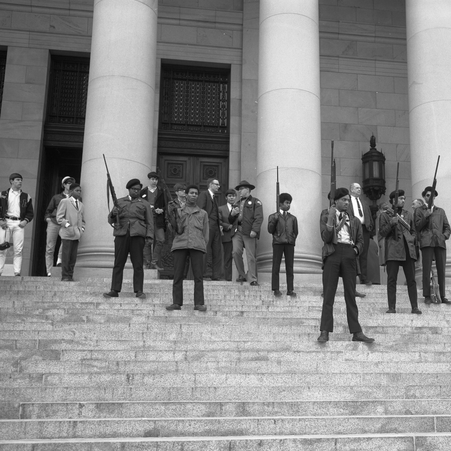 Black Panther Party on Washington State Capitol steps. Feb. 1969